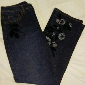 Talbots 6P Dark Wash Embroidered Blue Jeans